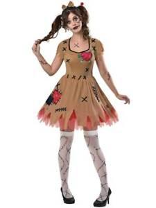 Adult Ladies Rag Voodoo Doll Costume Halloween Broken Zombie Fancy