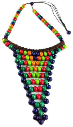 Choker Necklace Wood Multi Color Beads Surf Jewelry Belly Dancer Hippy Gypsy