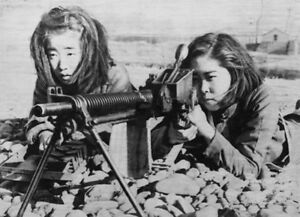 wwii photo ww2 japanese girls train with machine gun world war two