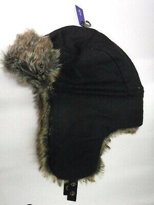 Mens Size S//M Apt 9 Black Textured Faux-Fur Trapper Hat New Nwt #12052