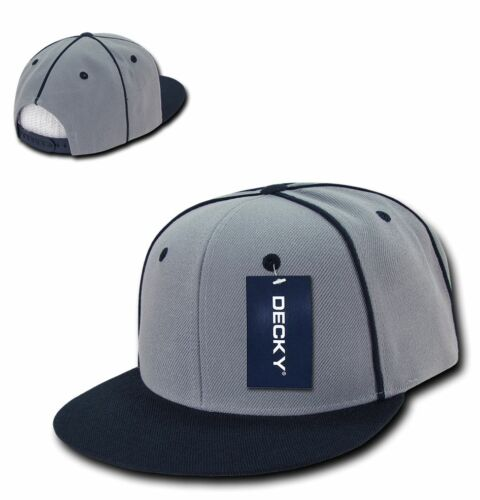 DECKY Piped Crown Snapback Two Tone 6 Panel Flat Bill Hats Caps