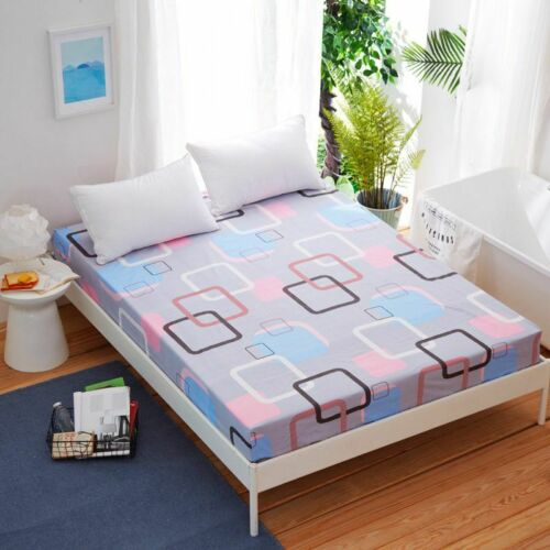 Floral Printed Fitted Sheet Single Double King Cotton Bed Sheet Cover 3 Size