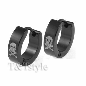 T-amp-T-Black-Stainless-Steel-GHOST-Hoop-Earrings-EB11