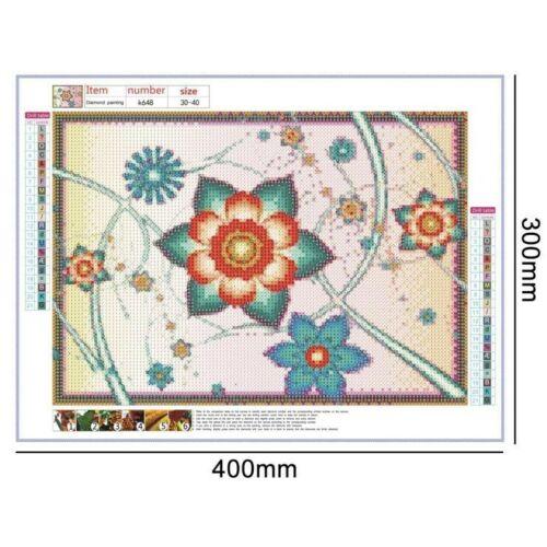 US Seller Diamond Painting Kit Full Round Pink Blue Pastel Flowers 40x30cm