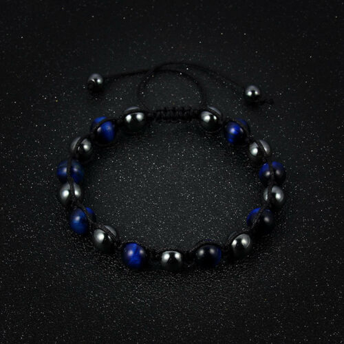 Men Women Natural Tigers Eye Hematite Beaded Braided Macrame Handmade Bracelets