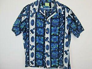 1960s 60s Ui Maikai Blue Floral Button Up Hawaiian Vintage Shirt