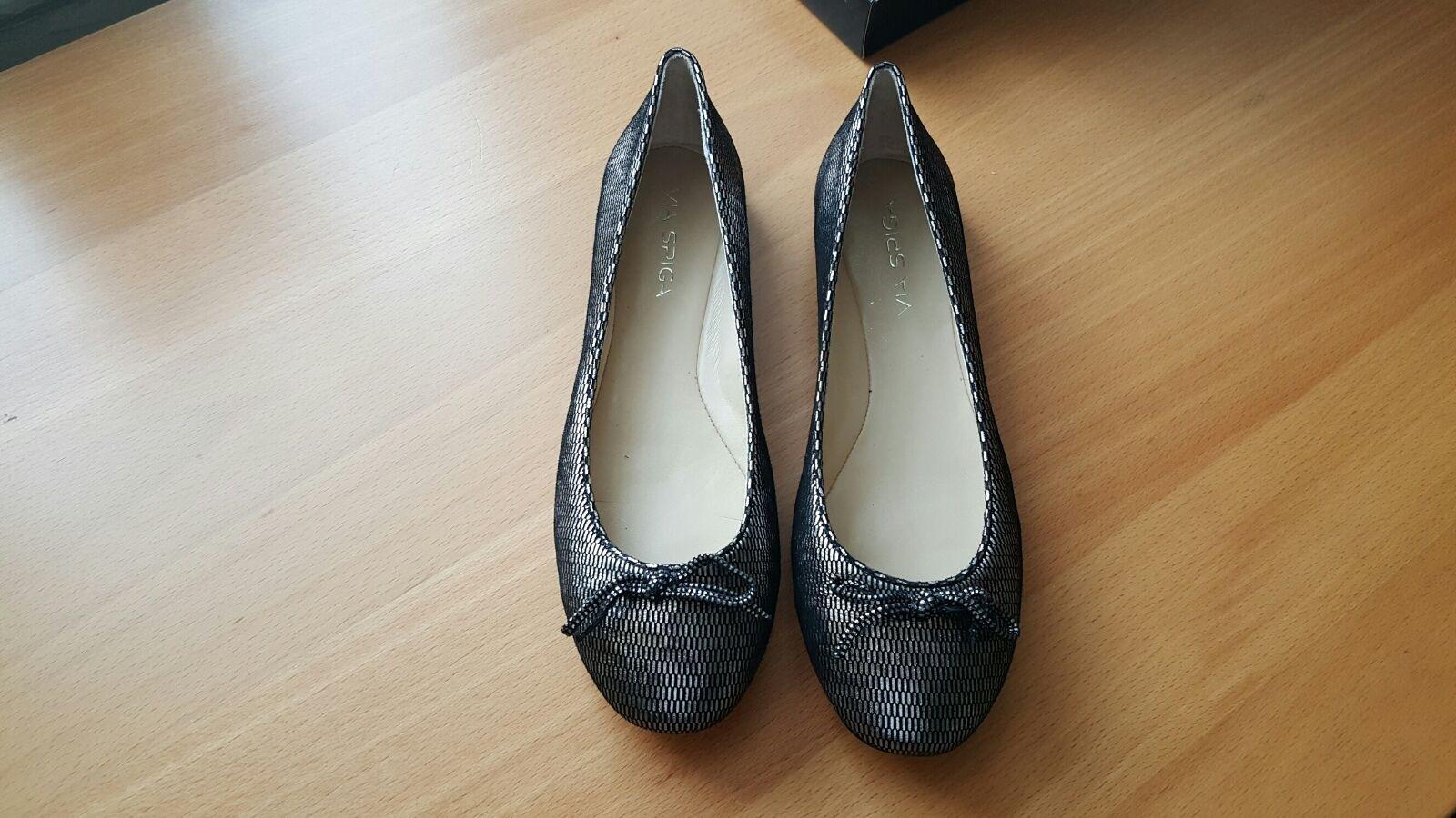 Via Spiga NIB  175 laylah ballet pewter print flats chaussures US 8