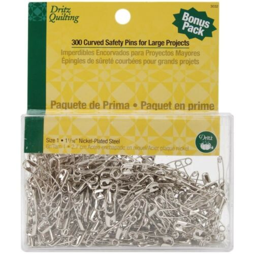 Steel Size 1 300 Count Dritz Quilting 3032 Curved Basting Pins Bonus Pack