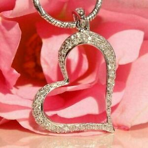 1Ct Round Cut Diamond Valentine Heart Pendant 14K White Gold Finish Free Chain