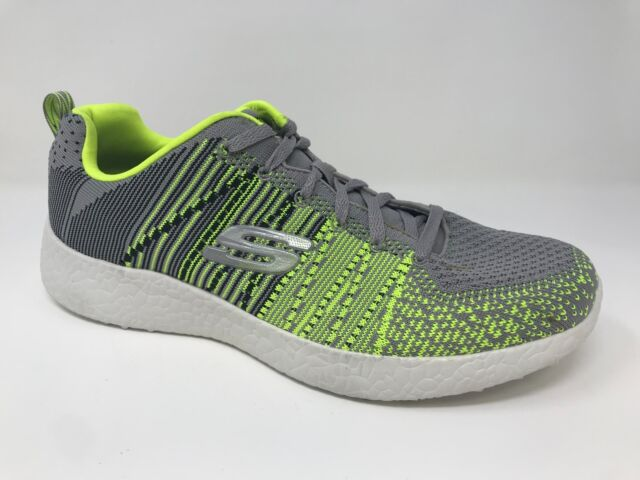 New! Men's Skechers 52107 Burst In the Mix Athletic Shoes GrayLime E7