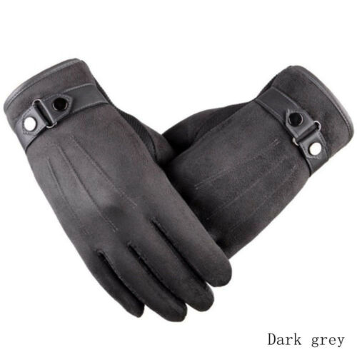 Stylish Men Winter Leather Motorcycle Full Finger Touch Screen Warm Gloves