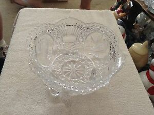 Clear glass three footed dish