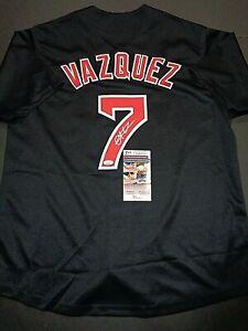 hot sale online bf5ec 99548 Details about Christian Vazquez Boston Red Sox Autographed Custom Black  Style Jersey coa JSA