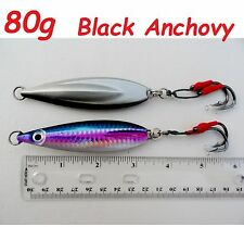 80g (2.8oz)   Flat Fall Keel Butterfly Jig Black Anchovy  Double Assist Hook