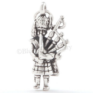 BAGPIPER-Charm-Pendant-Bagpipe-Player-Celtic-Scottish-STERLING-SILVER-925-3D