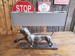 Ausgefallene Design Tischleuchte Dackel Lampe Tisch Deko Hund 49 cm hoch