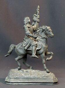 C-19eme-rare-statuette-sculpture-metal-Jeanne-d-039-Arc-a-cheval-en-armes-730g20cm