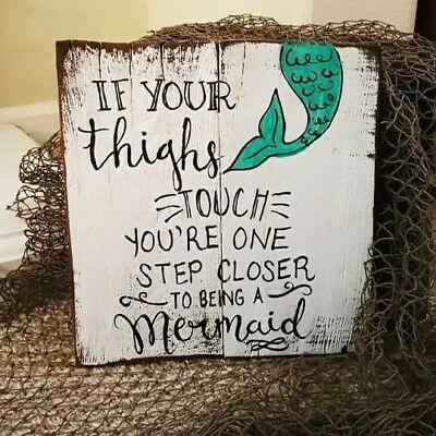 Funny Mermaid Reclaimed Wood Pallet Sign Ebay