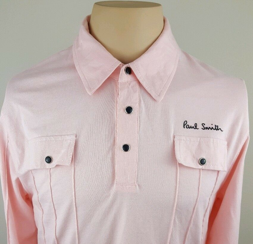 7245a795 PAUL SMITH Jeans Mens Western Pearl Snap Pink Long Sleeve Polo Shirt Med  Style nuvmyl106-Polos