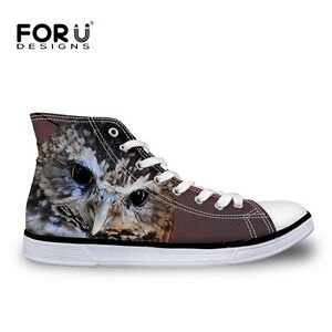Animal-Horse-Owl-Women-Flat-Comfy-Hi-Top-Sneakers-Casual-High-Tops-Canvas-Shoes