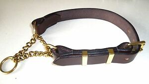 FULLY-OPENING-1-034-wide-MADE-TO-MEASURE-BRASS-LEATHER-HALF-CHECK-DOG-COLLAR