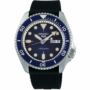 Seiko-5-Sports-Blue-Dial-Silicone-Strap-Automatic-Men-039-s-Watch-SRPD71K2-RRP-250