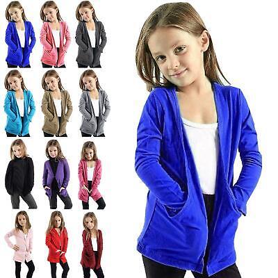 Kids Girls Boyfriend Open Pocket Long Sleeve Casual Cardigan Top Age 3-14 Years