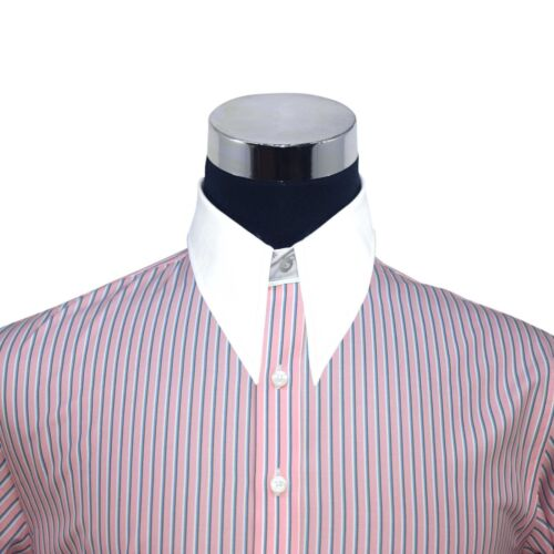 Spearpoint collar Mens shirt Pink stripes 1930s Vintage Classic WWII 100/% Cotton