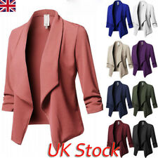 Plus Size Womens Collar Suit Thin Jacket Coat Ladies 3/4 Sleeve Blazer Cardigan
