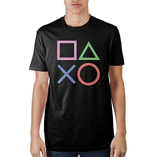 NEW Official PlayStation Shapes Button Logo T-shirt Charcoal Gray Large Tall LT