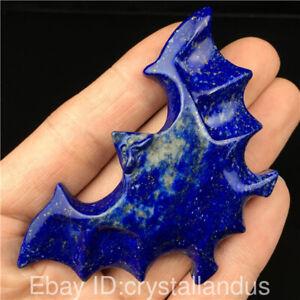 Natural-Carved-quartz-crystal-skull-pendant-Lapis-lazuli-Bat-reiki-Healing