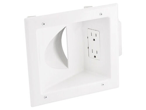 2-Gang Recessed Pass Through Audio Video Power Cable Wall Plate 2 Outlet White