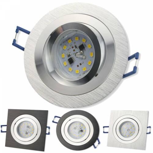 10x LED Einbaustrahler Set 230V 5-7 Watt rund eckig Spot Aluminium 80mm Bohrloch