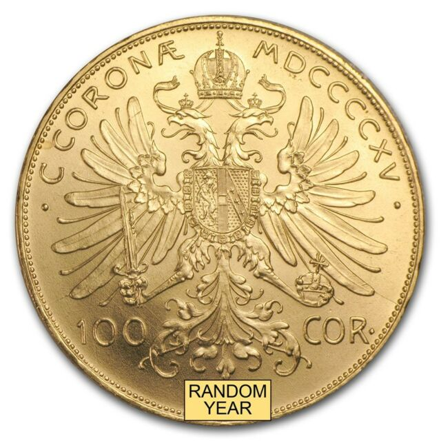Austria Gold 100 Coronas Brilliant Uncirculated BU (Random Year) - SKU #157