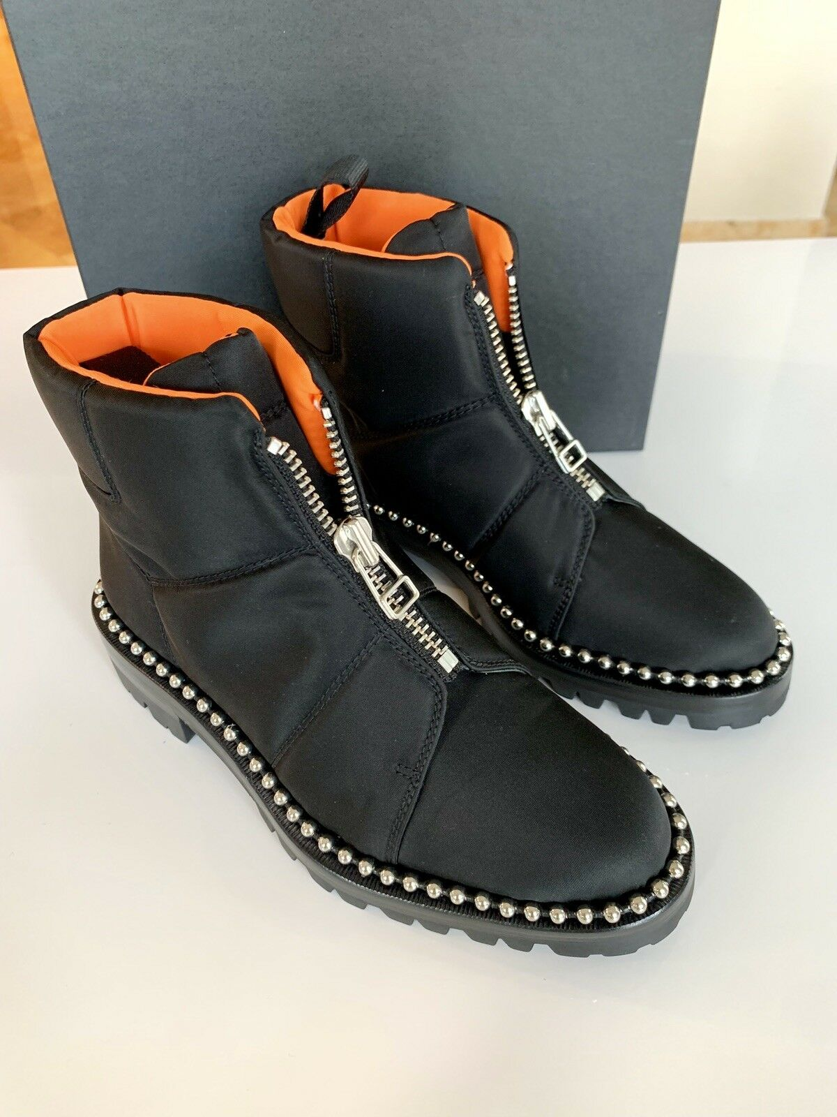 Alexander Wang Cooper Canvas Black Pull On Zip Studded Ankle Booties Boots 6.5