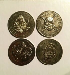 Pirates-Of-The-Caribbean-Lot-Of-4-Money-Coins-Token-Tookie-Loonie-Tv-Movie-Rare