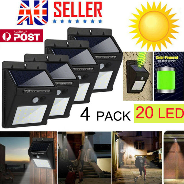 Solar Powered Bright Led Wireless PIR Motion Sensor Security Shed Wall Light 4x