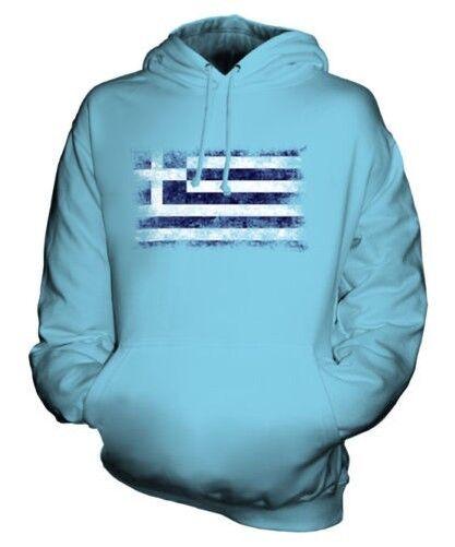 GREECE DISTRESSED FLAG UNISEX HOODIE TOP HELLAS GREEK ELLADA HELLENIC GRECIAN