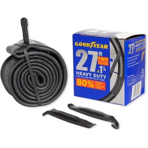 """Goodyear 27/"""" x 1 1//4/"""" Heavy Duty Bicycle Tube Bike 80/% Thicker /& 2 Tire Levers"""