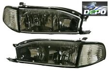 92-94 Toyota Camry BLACK Trim Diamond Headlights + Corners 4PCS SET DEPO