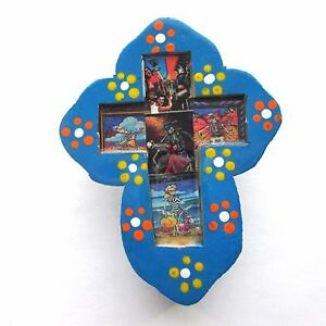 Mexican Folk Art Nicho Wood Cross Day of the Dead Wall Hanging