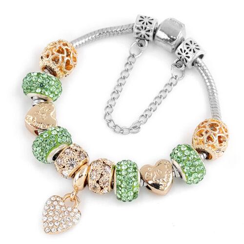 Plaqué or européen Crystal Love Heart Charm Bracelet Cadeaux Bijoux pour Femmes