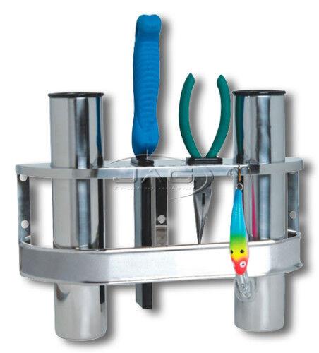 STAINLESS STEEL DOUBLE 2-ROD RACK VERTICAL HOLDER//ORGANISER-Boat//Fishing//Storage