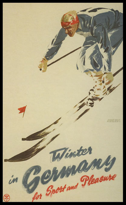 WINTER IN GERMANY FOR SPORT AND PLEASURE DOWNHILL SKIING VINTAGE POSTER REPRO