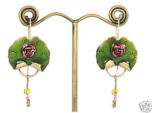 Image Is Loading Earrings Emerald Green Enamel W Pink Rose Design