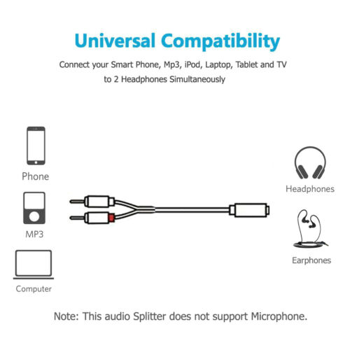 Y-Cable 6 inch 1 x 3.5mm Stereo Female 2 x RCA Male