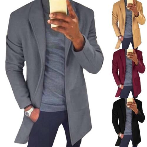 Mens Winter Autumn Trench Coat Warm Outwear Long Jacket Blazer Formal Overcoats