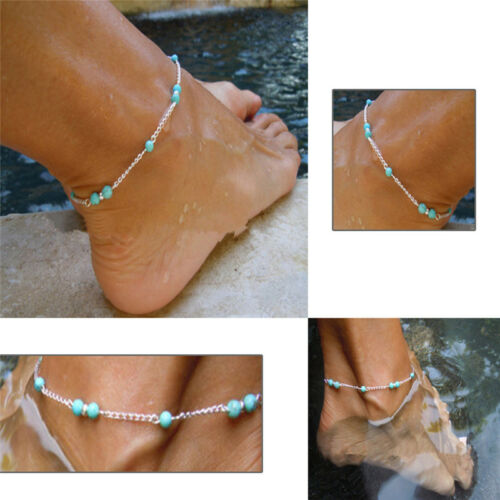 New Imitation Turquoise Beads Silver Ankle Beach Bracelet Anklet Foot Chain、Fad