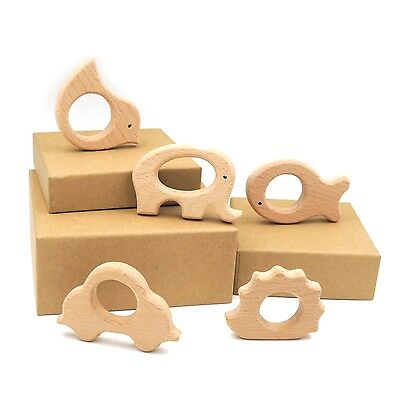 5pcs Wooden Teethers Teether Elephant Fish Bird Car Hedgehog Ring Baby Craft Diy