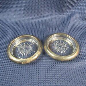 Vintage Lot de deux verre Coaster argentés par Leonard Italie